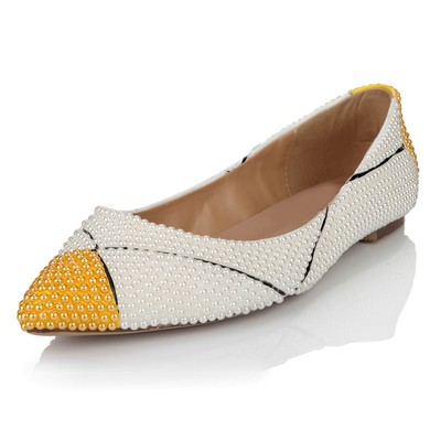 Women's White Patent Leather Flats with Imitation Pearl #LDB03030641