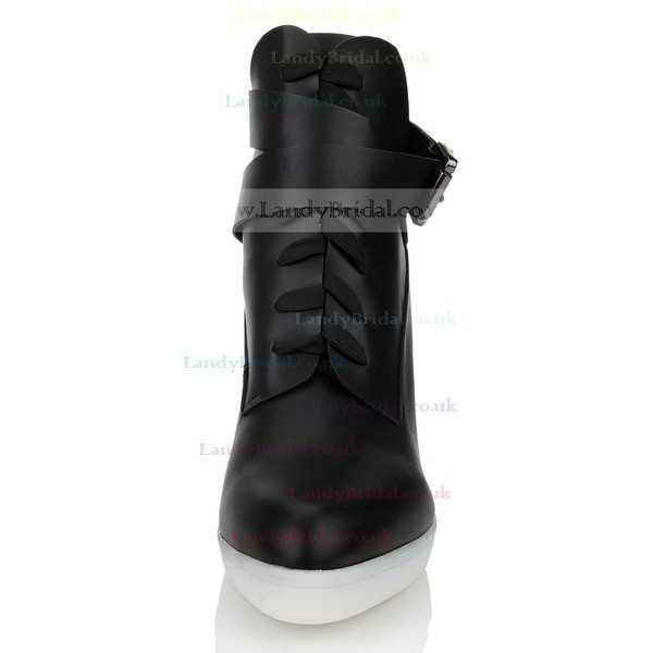 Women's Black Real Leather Pumps with Buckle/Lace-up