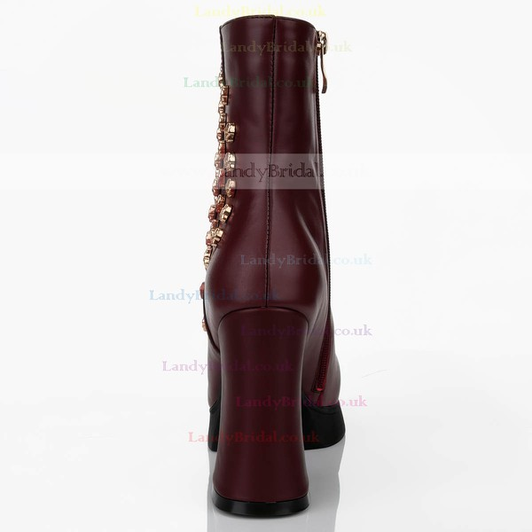 Women's Burgundy Real Leather Pumps with Zipper/Rivet