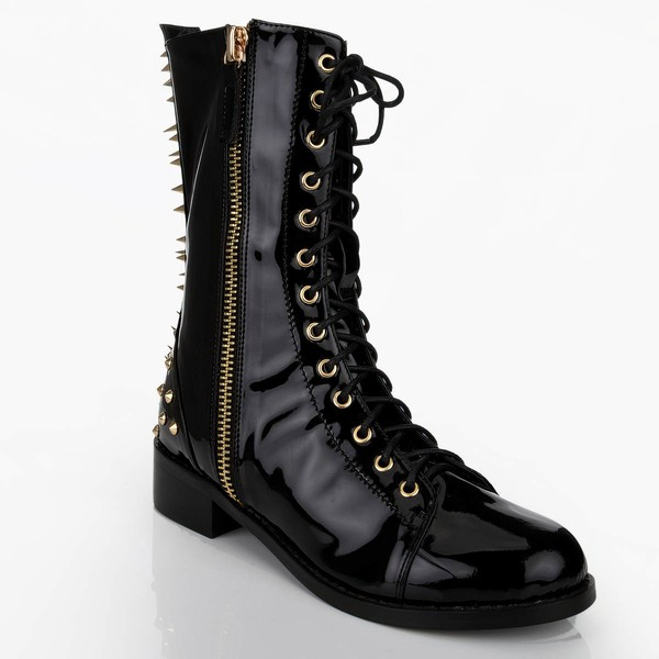 Women's Black Patent Leather Martin Boots with Zipper/Lace-up/Rivet #LDB03030645