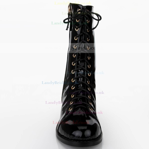Women's Black Patent Leather Martin Boots with Zipper/Lace-up/Rivet