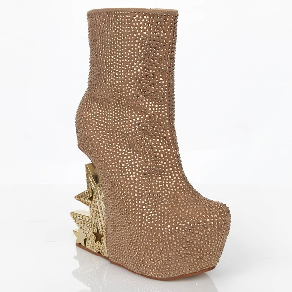 Women's Champagne Suede Platform with Zipper/Crystal/Crystal Heel
