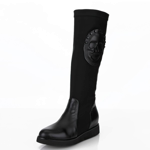 Women's Black Real Leather Knee High Boots with Split Joint