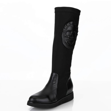 Women's Black Real Leather Knee High Boots with Split Joint #LDB03030647