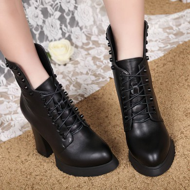 Women's Black Real Leather Pumps with Lace-up/Rivet #LDB03030648