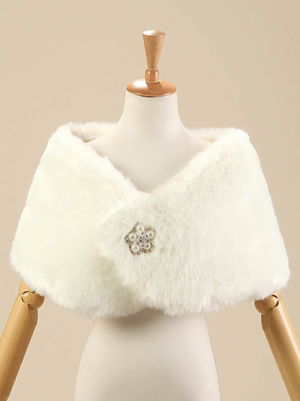 Faux Fur Sleeveless Shawl with Beading