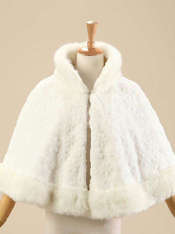 Faux Fur Sleeveless Shawl with Flower #LDB03040010