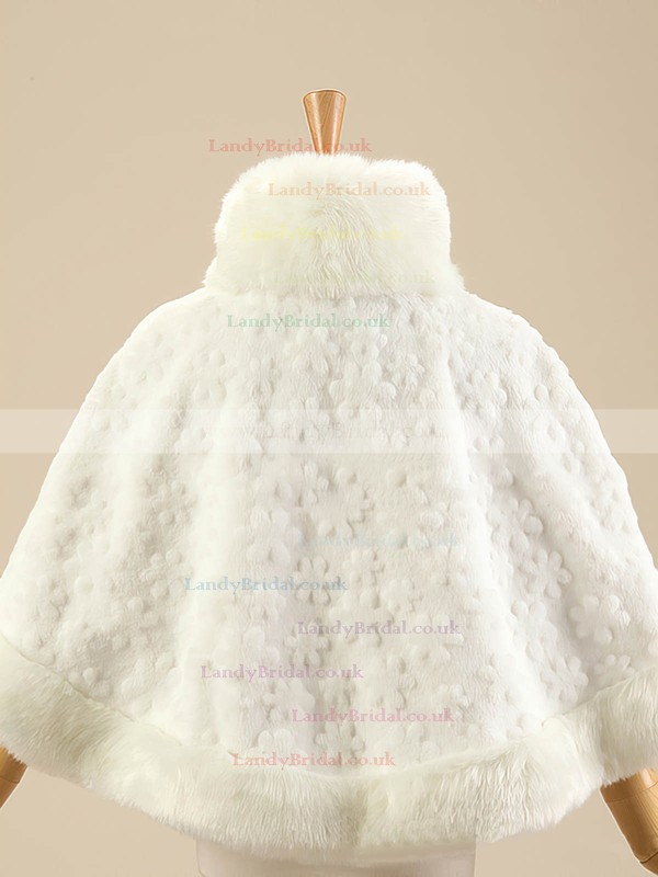 Faux Fur Sleeveless Shawl with Flower