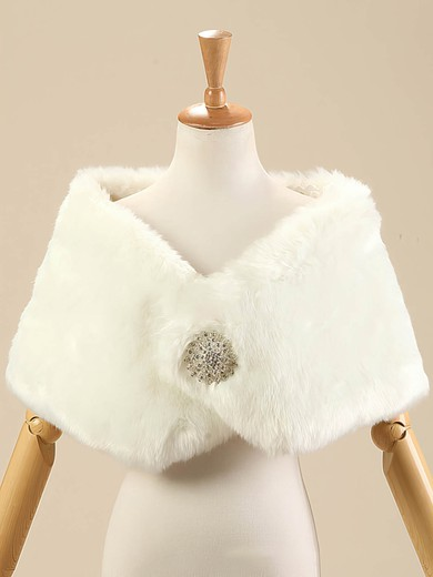 Faux Fur Sleeveless Shawl with Beading #LDB03040012
