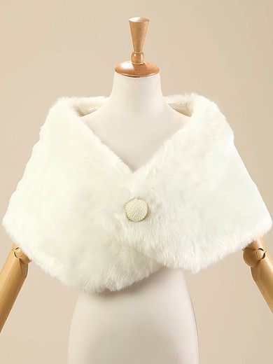 Faux Fur Sleeveless Shawl with Button #LDB03040013