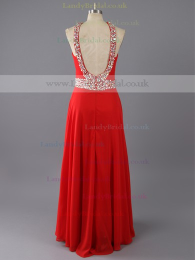 Affordable V-neck Red Chiffon with Beading Open Back Empire Prom Dress #LDB02014778