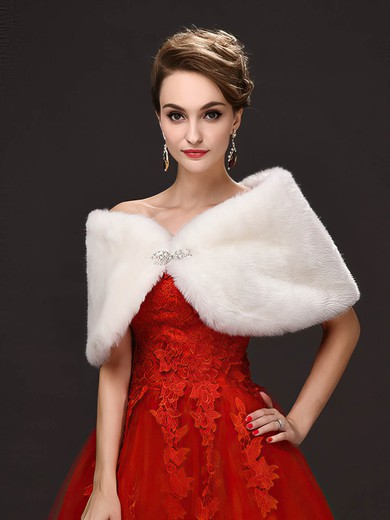 Faux Fur Sleeveless Shawl with Beading #LDB03040020