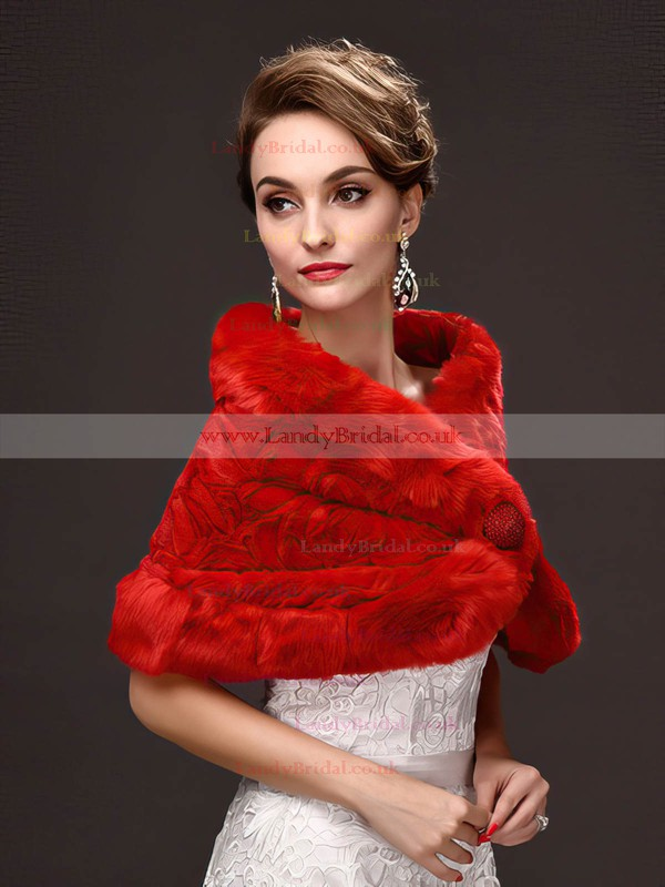 Faux Fur Sleeveless Shawl with Bow
