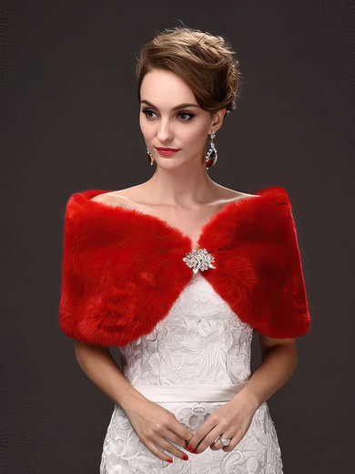 Faux Fur Sleeveless Shawl with Beading #LDB03040022