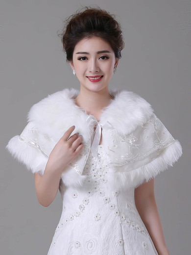 Faux Fur Sleeveless Wrap with Lace/Bow #LDB03040024