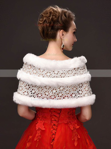 Faux Fur Off-the-Shoulder Sleeveless Shawl with Lace/Beading #LDB03040026