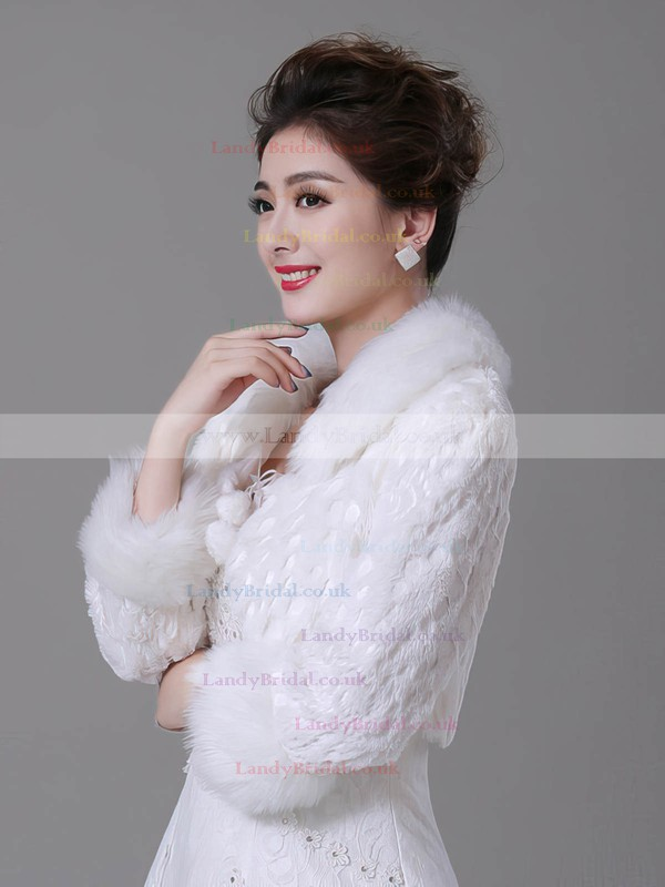 Faux Fur 3/4-Length Sleeve Wrap with Lace
