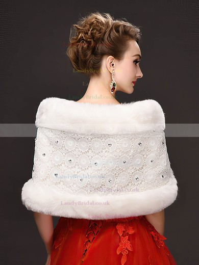 Faux Fur Sleeveless Shawl with Lace/Beading #LDB03040028