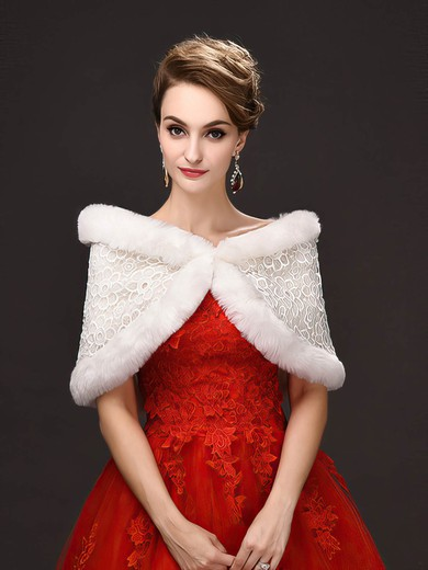 Faux Fur Off-the-Shoulder Sleeveless Shawl with Lace #LDB03040032