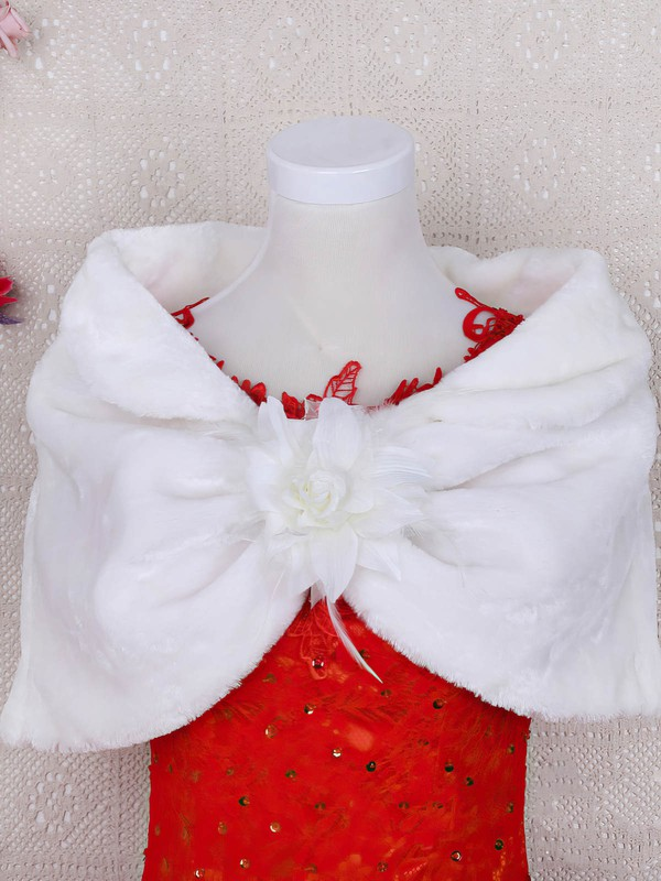 Faux Fur Off-the-Shoulder Sleeveless Shawl with Flower #LDB03040033