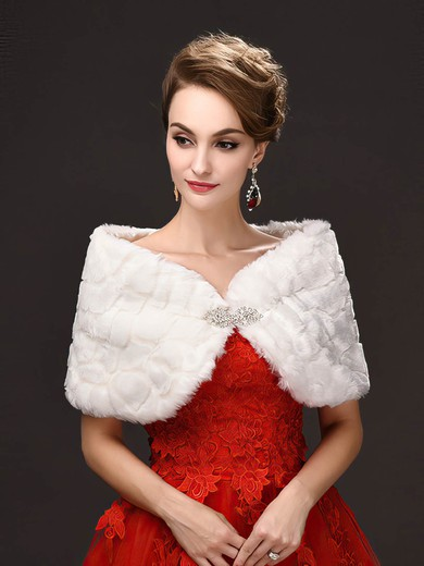 Faux Fur Off-the-Shoulder Sleeveless Shawl with Beading #LDB03040038