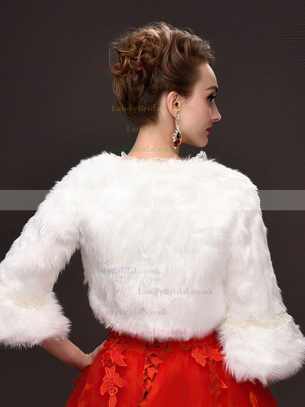Faux Fur 3/4-Length Sleeve Wrap with Lace #LDB03040039