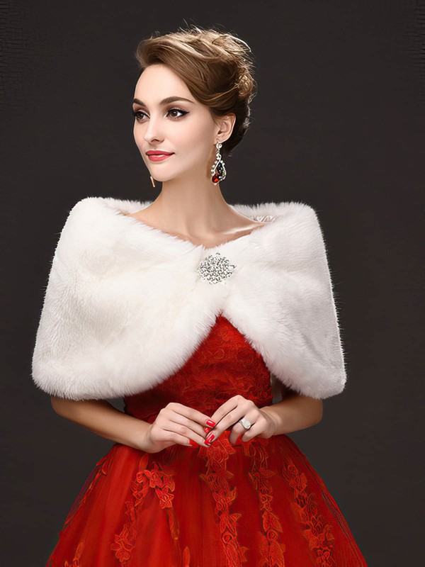 Faux Fur Sleeveless Wrap with Beading #LDB03040040