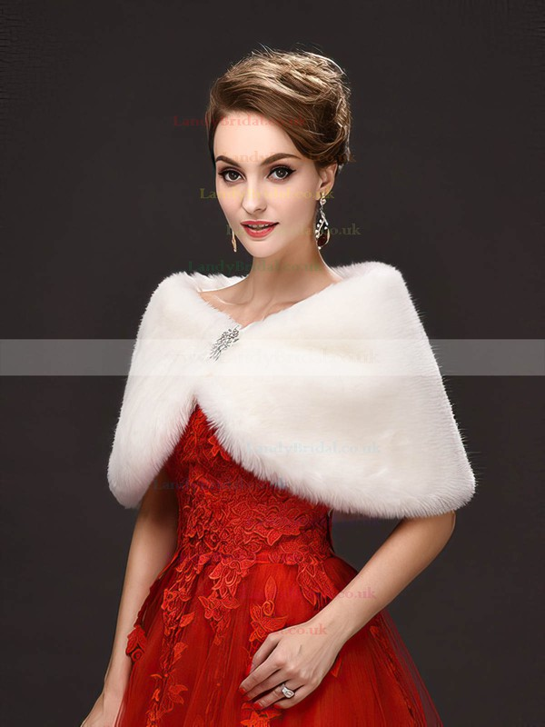 Faux Fur Sleeveless Wrap with Beading
