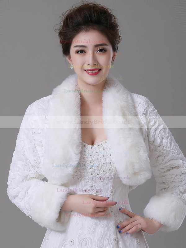 Faux Fur Long Sleeve Wrap with Flower