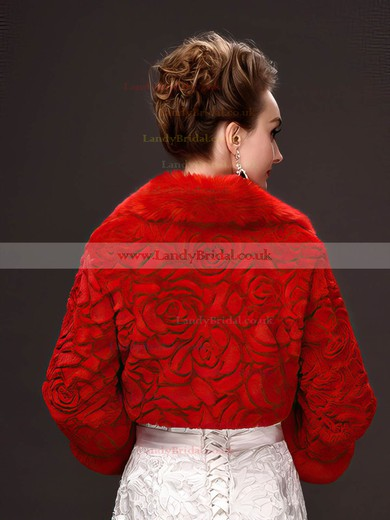 Faux Fur Long Sleeve Wrap with Flower #LDB03040043