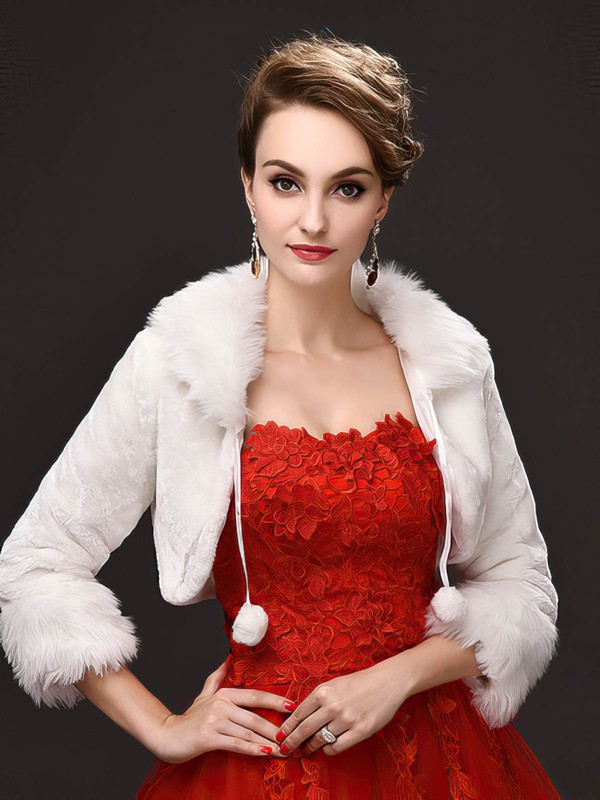 Faux Fur Long Sleeve Wrap #LDB03040047