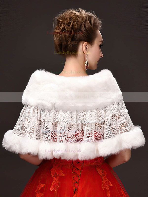 Faux Fur Sleeveless Wrap with Lace/Button #LDB03040048