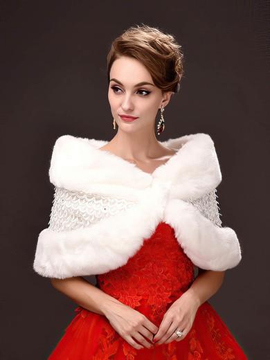 Faux Fur Sleeveless Shawl with Beading #LDB03040050