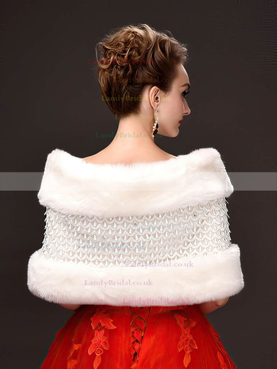 Faux Fur Sleeveless Shawl with Beading #LDB03040050