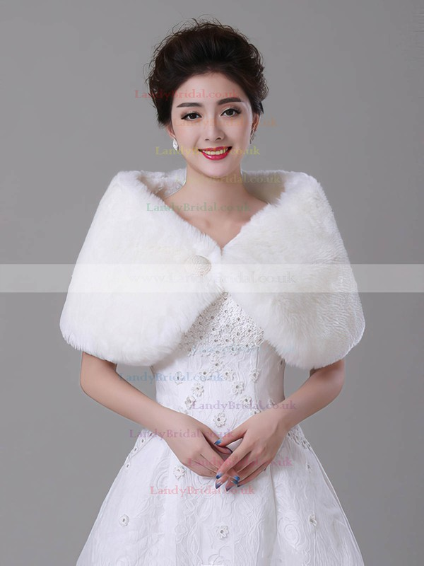 Faux Fur Sleeveless Shawl with Button