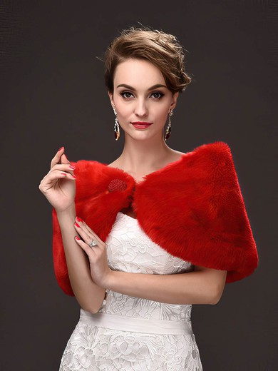 Faux Fur Sleeveless Shawl with Button #LDB03040051