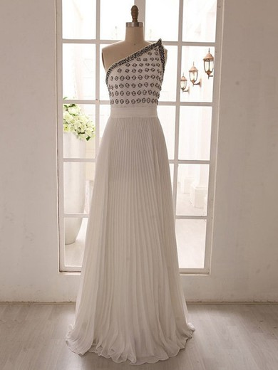 Pretty Ivory Chiffon One Shoulder Pearl Detailing Sweep Train Prom Dress #LDB02018080