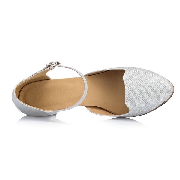 Women's Silver Sparkling Glitter Chunky Heel Pumps