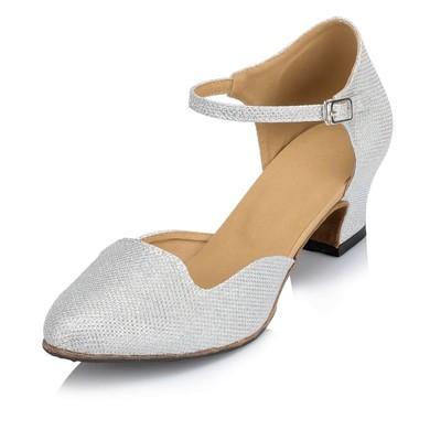 Women's Silver Sparkling Glitter Chunky Heel Pumps #LDB03030649
