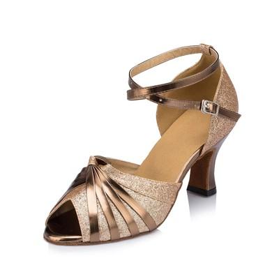 Women's Gold Sparkling Glitter Chunky Heel Sandals #LDB03030650