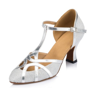 Women's White Sparkling Glitter Kitten Heel Pumps #LDB03030653