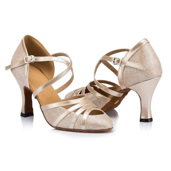 Women's White Sparkling Glitter Kitten Heel Pumps