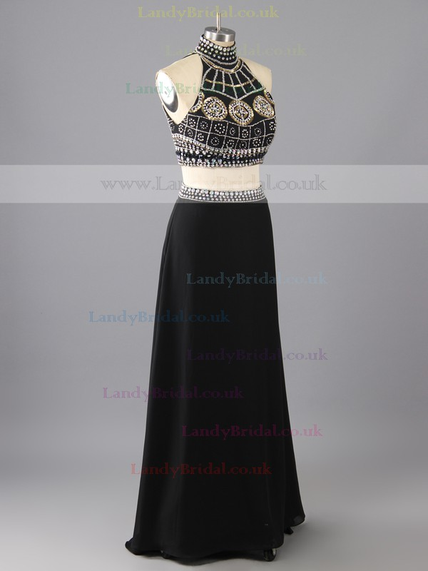 Popular A-line Black Chiffon Crystal Detailing Two Piece High Neck Prom Dress #LDB02018800