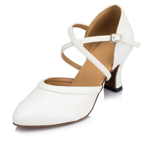 Women's White Leatherette Kitten Heel Pumps #LDB03030657