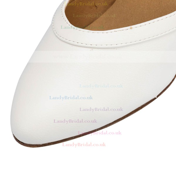 Women's White Leatherette Kitten Heel Pumps