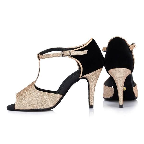 Women's Gold Sparkling Glitter Stiletto Heel Pumps
