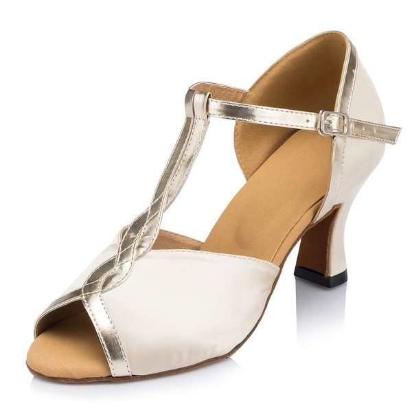Women's Ivory Satin Kitten Heel Sandals #LDB03030661