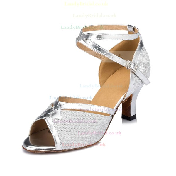 Women's Silver Sparkling Glitter Kitten Heel Sandals