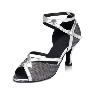 Women's Silver Sparkling Glitter Kitten Heel Sandals #LDB03030662