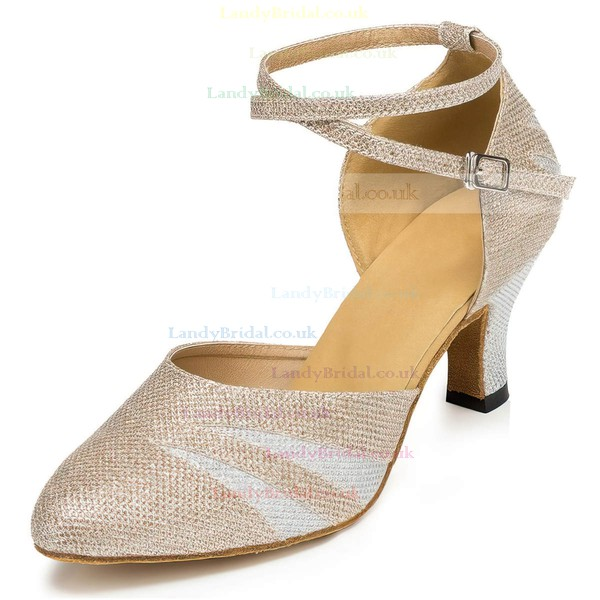Women's Silver Sparkling Glitter Kitten Heel Pumps